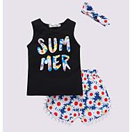Børn Pige Aktiv Blomstret Trykt mønster Uden ærmer Bomuld Tøjsæt