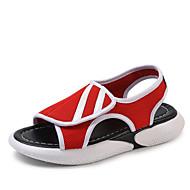 baratos Sapatos Femininos-Mulheres Com Transparência / Couro Ecológico Verão Conforto Sandálias Caminhada Sem Salto Dedo Aberto Branco / Preto / Vermelho / Estampa Colorida
