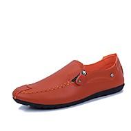 baratos Sapatos Masculinos-Homens Sapatos de Condução Couro Ecológico Primavera / Verão Conforto Mocassins e Slip-Ons Branco / Preto / Laranja