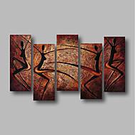 billiga Abstrakta målningar-Hang målad oljemålning HANDMÅLAD - Abstrakt / Landskap Samtida Inkludera innerram / Fem paneler / Sträckt kanfas