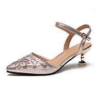 baratos Sapatos Femininos-Mulheres Sapatos Couro Ecológico Verão D'Orsay Sandálias Caminhada Salto Sabrina Dedo Apontado Gliter com Brilho Prata / Champanhe