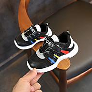 baratos Sapatos de Menina-Para Meninas Sapatos Tule / Couro Ecológico Primavera Verão Conforto Tênis Caminhada Velcro para Bébé Branco / Preto / Rosa claro