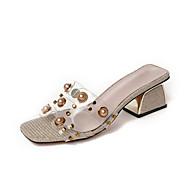 baratos Sapatos Femininos-Mulheres Sapatos Couro Ecológico Verão Chanel Sandálias Caminhada Salto de bloco Ponta quadrada Miçangas / Pérolas Sintéticas Dourado /