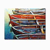 billiga Landskapsmålningar-Hang målad oljemålning HANDMÅLAD - Abstrakt / Landskap Samtida / Moderna Inkludera innerram / Sträckt kanfas