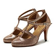 billige Moderne sko-Dame Moderne sko Lær Joggesko Strå Slim High Heel Kan spesialtilpasses Dansesko Brun