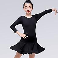 billiga Danskläder och dansskor-Latinamerikansk dans Klänningar Flickor Träning / Prestanda Mjölkfiber Satängrosett / Veckad Långärmad Naturlig Klänning