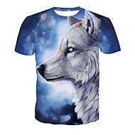 Tee-shirt Homme, Bloc de Couleur / Animal Imprimé Soirée Basique / Chic de Rue Col Arrondi Loup Bleu clair XXL / Manches Courtes / Eté