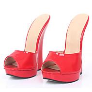 baratos Sapatos Femininos-Mulheres Sapatos Couro Ecológico Primavera Verão Chanel Sandálias Salto Plataforma Ponta Redonda Preto / Roxo / Vermelho / Festas & Noite