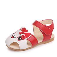 tanie Obuwie dziewczęce-Dla dziewczynek Obuwie PU Lato Comfort Sandały Spacery Wzór zwierzęcy / Tasiemka na Brzdąc Czerwony / Różowy