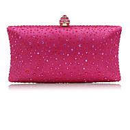 여성용 크리스탈 디테일 이브닝 백 라인 석 크리스탈 저녁 가방 공단 블러슁 핑크 / 퓨샤 / 슬리버