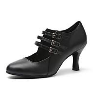 billige Moderne sko-Dame Moderne sko Nappa Lær Joggesko Spenne Kubansk hæl Dansesko Svart