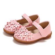 billige Sko til blomsterpiger-Pige Sko PU Forår sommer Komfort / Sko til blomsterpiger Fladsko Gang Magisk tape for Baby Hvid / Rød / Lys pink
