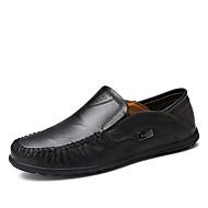 baratos Sapatos Masculinos-Homens Pele Primavera Mocassim Mocassins e Slip-Ons Preto / Marron / Khaki