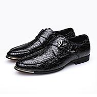 baratos Sapatos Masculinos-Homens Pele Primavera Conforto Mocassins e Slip-Ons Preto / Azul