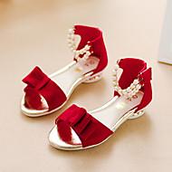 tanie Obuwie dziewczęce-Dla dziewczynek Obuwie Zamsz Lato Comfort / Buty dla małych druhen Sandały Spacery Sztuczna perła na Dzieci Black / Czerwony / Różowy