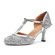 billige Moderne sko-Dame Moderne sko Lakklær Joggesko Paljett Kubansk hæl Dansesko Sølv