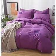 tanie Solid Duvet Okładki-Zestawy kołdra okładka Solidne kolory 100% bawełna Drukowane 4 elementyBedding Sets / 400 / 4 sztuki (1 poszewka na kołdrę, 1 prześcieradło, 2 ozdobne poszewki Euro Sham)