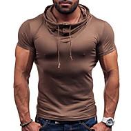 Hætte Herre - Ensfarvet T-shirt / Kortærmet