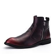 tanie Obuwie męskie-Męskie Komfortowe buty Mikrowłókno Zima Botki Czarny / Czerwony