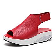 Dame Sko PU Sommer Komfort / Originale Sandaler Gang Platform Kigge Tå Beige / Rød / Mørkebrun
