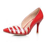 baratos Sapatos Femininos-Mulheres Couro Ecológico Primavera Conforto Saltos Salto Agulha Dedo Fechado Preto / Amarelo / Vermelho / Diário