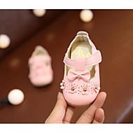 Χαμηλού Κόστους Μωρουδιακά Παπούτσια-Κοριτσίστικα Παπούτσια PU Καλοκαίρι Πρώτα Βήματα Χωρίς Τακούνι Τεχνητό διαμάντι / Λουλούδι / Ταινία Δεσίματος για Παιδιά Μπεζ / Ροζ