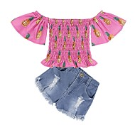 סט של בגדים כותנה שרוולים קצרים קפלים / דפוס פרחוני אננס ליציאה וינטאג' / בוהו בנות ילדים