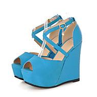 tanie Obuwie damskie-Damskie PU Jesień i zima D'Orsay i dwuczęściowe Sandały Obcas wedge Buty z wystającym palcem Klamra Beżowy / Niebieski / Migdałowy