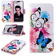 billiga Mobil cases & Skärmskydd-fodral Till Huawei Honor 10 / Honor 7A Plånbok / Korthållare / med stativ Fodral Fjäril Hårt PU läder för Honor 8 / Honor 7X / Honor 7C(Enjoy 8)