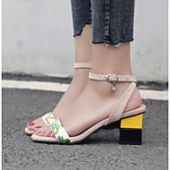 baratos Sapatos Femininos-Mulheres Couro Ecológico Primavera Conforto Sandálias Salto de bloco Preto / Amêndoa