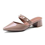 baratos Sapatos Femininos-Mulheres Sapatos Pele Napa Primavera Verão Chanel Tamancos e Mules Salto Robusto Dedo Apontado Pérolas Sintéticas Cinzento / Rosa claro