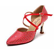 billige Moderne sko-Dame Moderne sko Sateng Høye hæler Slim High Heel Dansesko Brun / Rød