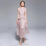 Dame Sofistikerede / Elegant A-linje Kjole - Blomstret, Blonder Maxi
