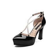 baratos Sapatos Femininos-Mulheres Sapatos Pele Napa Primavera Verão Conforto Saltos Salto Robusto Dedo Apontado Pérolas Sintéticas Preto / Vermelho / Amêndoa