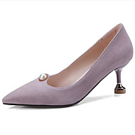 baratos Sapatos Femininos-Mulheres Sapatos Camurça Primavera Verão Plataforma Básica Saltos Salto Agulha Dedo Apontado Pérolas Sintéticas Preto / Khaki