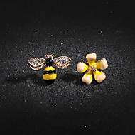Women's Crystal Cubic Zirconia Mismatched Stud Earrings Earrings Flower Bee Ladies Casual Lolita Sweet Jewelry Yellow For Gift Daily Street Going out 1 Pair