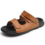 baratos Sapatos Masculinos-Homens Couro Ecológico Verão Conforto Sandálias Preto / Castanho Claro / Castanho Escuro
