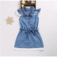 子供 女の子 ヴィンテージ / ベーシック 日常 / お出かけ ソリッド 半袖 コットン / ポリエステル ドレス ブルー