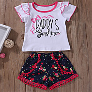 Baby Girls' Basic Daily Solid Colored Short Sleeve Regular Polyester Clothing Set White / Toddler