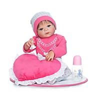 NPKCOLLECTION Reborn-dukker Babypiger 24 inch Fuld krops silicone / Vinyl - Kunstig implantation Blå øjne Børne Pige Gave