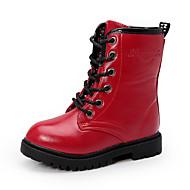 baratos Sapatos de Menina-Para Meninas Sapatos Couro Ecológico Outono & inverno Coturnos Botas Caminhada Cadarço para Adolescente Preto / Vermelho / Vinho / Botas Curtas / Ankle