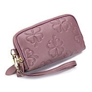 baratos Clutches & Bolsas de Noite-Mulheres Bolsas Pele Bolsa de Pulso Ziper Cinzento / Roxo / Vinho