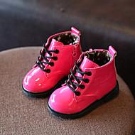 baratos Sapatos de Menina-Para Meninas Sapatos Couro Ecológico Outono & inverno Conforto / Botas da Moda Botas Caminhada para Infantil Preto / Amarelo / Pêssego / Botas Curtas / Ankle