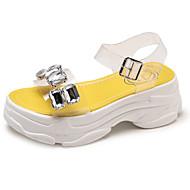 baratos Sapatos Femininos-Mulheres Sapatos Couro Ecológico Verão Chanel Sandálias Creepers Cristais Branco / Amarelo