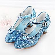 Fete Pantofi PU Primăvara & toamnă Pantofi Fata cu Flori Tocuri Funde / Paiete pentru Copii Alb / Albastru / Roz