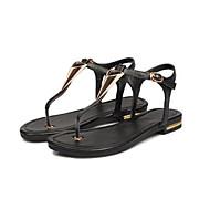 baratos Sapatos Femininos-Mulheres Sapatos Pele Verão MaryJane Sandálias Sem Salto Ponteira Preto / Champanhe