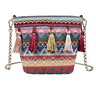 baratos Bolsas de Ombro-Mulheres Bolsas Algodão Bolsa de Ombro Mocassim Azul / Vermelho / Khaki