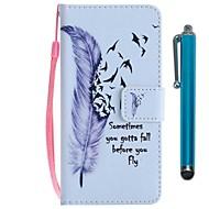 billiga Mobil cases & Skärmskydd-fodral Till Huawei P20 lite / P smart Plånbok / Korthållare / med stativ Fodral Fjädrar Hårt PU läder för Huawei P20 / Huawei P20 lite / P smart