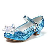 baratos Sapatos de Menina-Para Meninas Sapatos Couro Ecológico Primavera Verão Sapatos para Daminhas de Honra Saltos Cristais / Lantejoulas para Infantil / Adolescente Prateado / Azul / Rosa claro