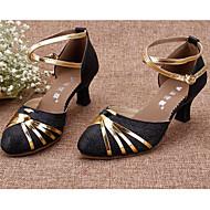 billige Moderne sko-Dame Moderne sko Syntetisk Høye hæler Kubansk hæl Dansesko Svart / Sølv / Rød